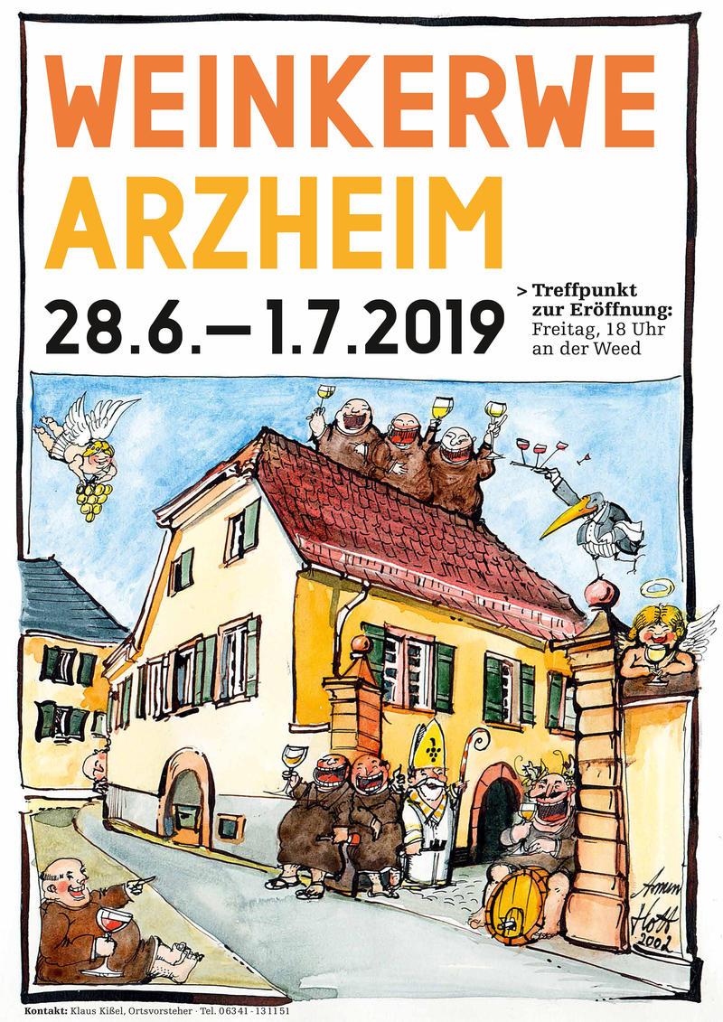 Im Landauer Stadtdorf Arzheim wird vom 28. Juni bis zum 1. Juli Weinkerwe gefeiert.