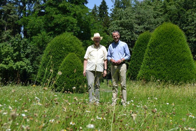 Naturoase Friedhof: Bürgermeister Dr. Maximilian Ingenthron (r.) und Gerhard Blumer, Leiter der Friedhofsverwaltung (l.), freuen sich über die neuen Blühinseln auf den Wiesenflächen des Landauer Hauptfriedhofs.