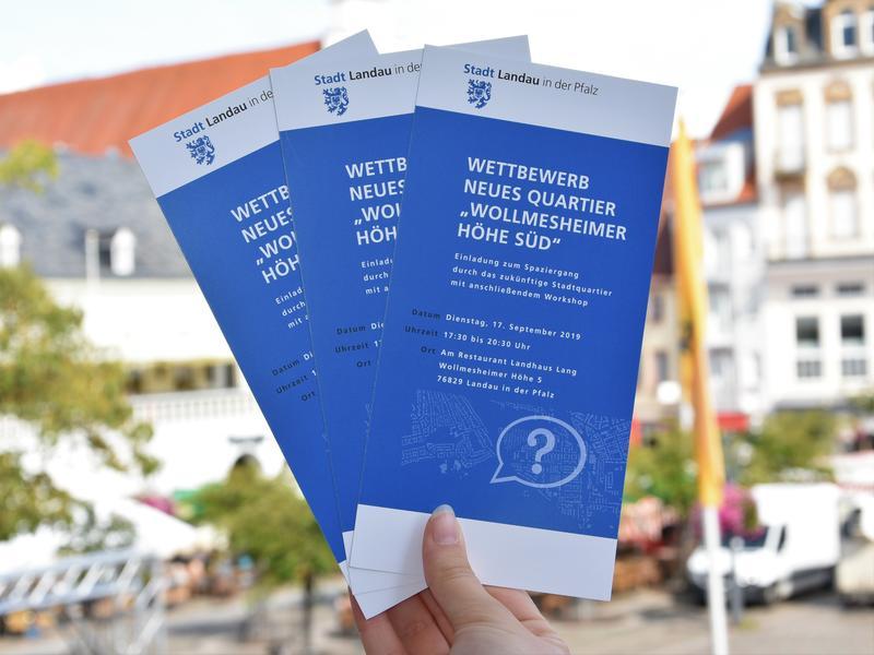 Südlich der Wollmesheimer Höhe plant die Stadt Landau ein neues Stadtquartier. In die Vorgaben und Rahmenbedingungen des dazugehörigen städtebaulichen Realisierungswettbewerbs sollen auch die Ideen und Anregungen der Bürgerinnen und Bürger einfließen.